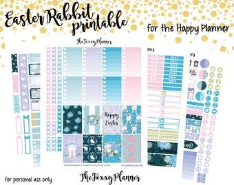 Easter Rabbit Weekly Kit    Printable Planner Stickers