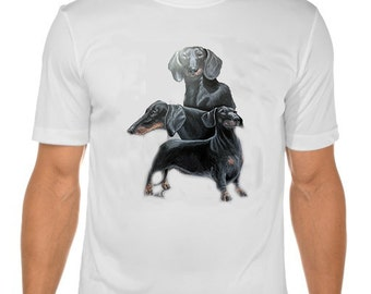 New Womans Mens Unisex Graphic Print Dachshund Dog White Cotton T Shirt