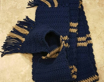 Crochet Scarf with Pockets: Ravenclaw inspired, blue and bronze