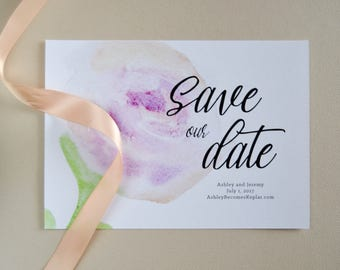 Watercolor Rose Save the Date, Customizable Save the Date Card