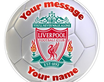 FC LIVERPOOL Inspired  Personalised Party Cake Topper Edible print on icing 7.5""