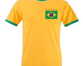 Adults Brazil Brasil Pele Home Embroidered Retro Football T-Shirt with Free Personalisation - Yellow / Green