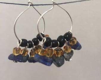 Blue stone and yellow bead Hoops