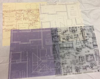 4 House Plans Scrapbook Paper Sheets, 12 x 12