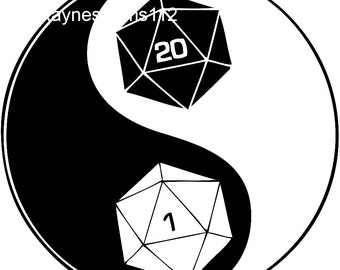 Ying and Yang Dungeons and Dragons Dice SVG