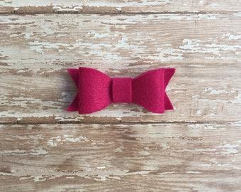 Magenta felt bow, baby bow, hair bow, headband, snap clip, elastic