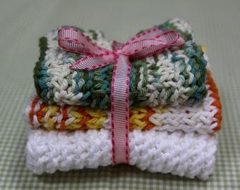 Knit Dish Cloths, Green/White/Yellow Multi
