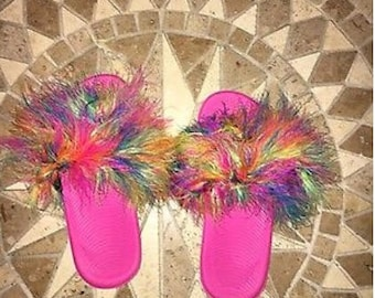 Pink Furry Rainbow Nike Slides