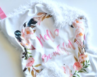 Hello Beautiful Baby Lovey, Pink Lovey, Baby Girl Lovey, Baby Girl Blanket, Boho baby Blanket, baby lovey, baby blanket