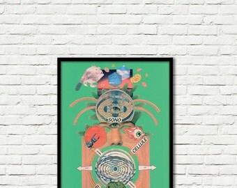 Deus-Collage-Pop Art-surreal (paper, vintage clippings, glue)