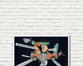 Escape-print-Pop Art-Surreal (paper, vintage clippings, glue)