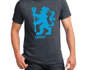 Chelsea Inspired Lion Soccer Tee (Dark Heather/Blue)