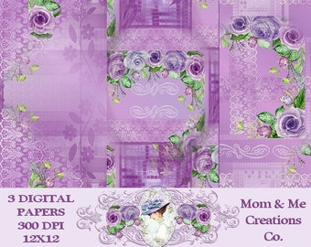 Purple and Pink Lace and Roses Digital Paper