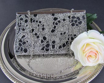 Vintage Black Beaded Evening Bag by La Regale FREE US SHIPPING