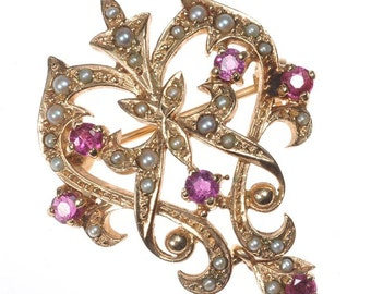Victorian Seed Pearl and Ruby Brooch/Pendant set in 9ct Gold