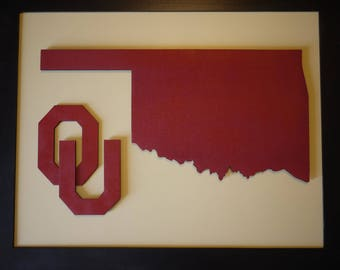 OU -  Boomer Sooner - Wooden 3-D  Wall Art