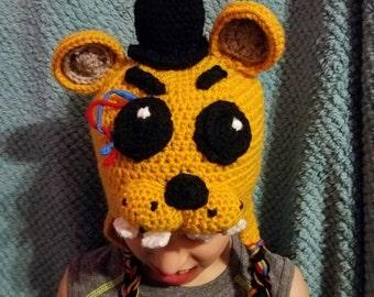 FNAF golden freddie hat, five nights at freddies, golden freddie, earflap hat, gift, hat, crochet hat, character hat