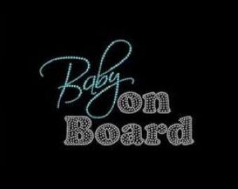 Baby on Board Blue Rhinestone Iron on Transfer    VNR0