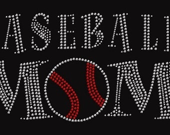 Baseball Mom Rhinestone Iron On Transfer          102612