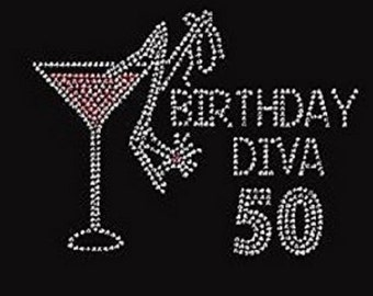 "Rhinestone Birthday Diva ""You Pick the Numbers "" Lightweight Ladies T-Shirt  or DIY Iron On Transfer           SG63"