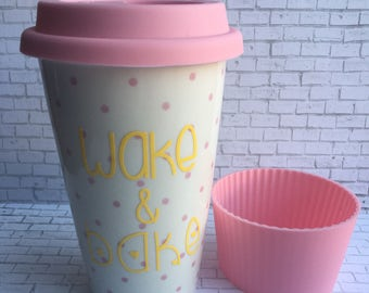 Reusable Ceramic Tea or Coffee Mug, Wake and Bake, White Mug,Pink Polka Dots,Yellow Lettering, Lid and Sleeve, Ready To Ship, Weed Reference