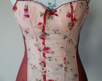 Vintage italian bustier corset top pink rose flower soft fabric no bones but wire cups sexy yet breezy under jacket size 34 italian  size 2