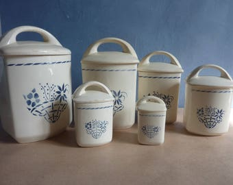 French vintage ceramic storage jars, set of 6. Antique French kitchen jars