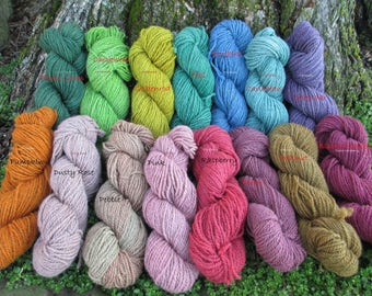 Hand dyed Worsted Weight wool yarn/organic yarn/hand dyed worsted yarn/kettle dyed yarn/farm yarn/natural yarn/sustainable yarn/Heather yarn