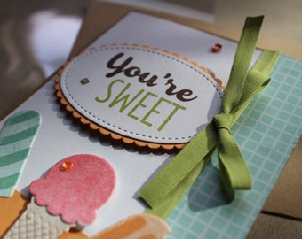 Stampin Up Cool Treats You're Sweet Thank You Card