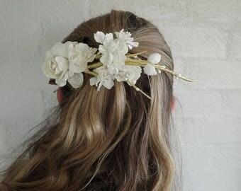 Clip-on flower headpiece, bridal, races, in cream
