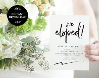 We Eloped! Elopement Editable pdf Template, INSTANT DOWNLOAD, Elopement Announcement, Wedding Elope Invitation Printable - Harper