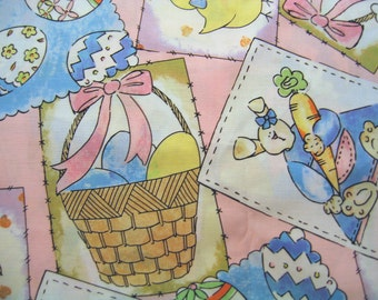 Easter Bunny Basket Fabric Cotton By the Yard 36 Inches Long