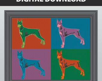 Doberman Art, Doberman Print, instant download, instant printable, printable art, digital download, art printable, doberman gifts, doberman