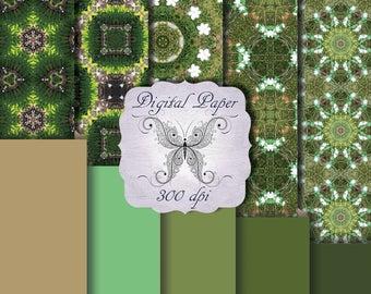 Digital Decorative Paper Greatful Greens