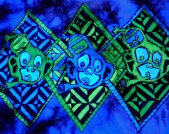 Shirt of Tuxedo apes batik S UV blacklight blacklight Goa psy monkeys Paffen