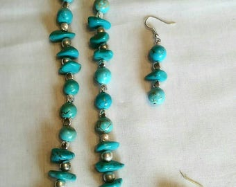 Genuine turquoise nugget necklace,original one of a kind, matching earrings
