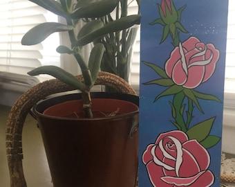 Pink Roses Tattoo Flash