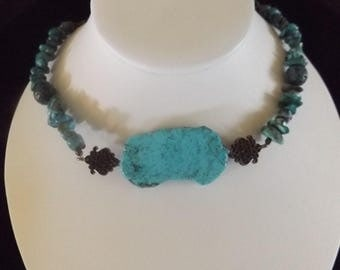 Turquoise Necklace with Bronze Accents