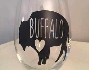 Buffalove - Buffalo, NY Wine Glass