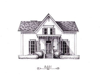 House Portrait, Custom House drawing, 5''x 7'' Pen and Ink, Unique Gift