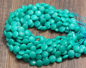 """Teal Blue Green Jade 14mm puff coin beads approx. 15.5"""" strand or 7"""" strand"""