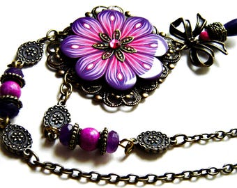 Flower statement necklace: Polymer clay necklace, Purple and pink necklace, Unique jewelry, Handmade necklace, flower jewelry wife