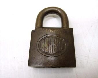 Vintage Corbin All Brass Padlock Lock Patent 11-5-07 12-24-07 4-13-09