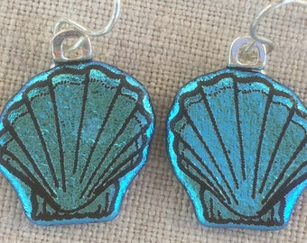 Dichroic Fused Glass Earrings - Aqua Blue Scallop Shell Laser Engraved Etched Earrings with Solid Sterling Ear Wires