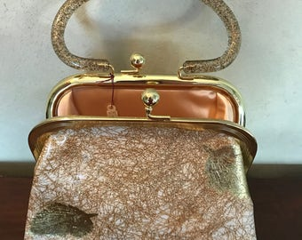 Vintage purse with gold leaf detailing and gold glitter handle