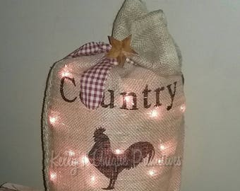 Lighted Burlap Sack Burlap Bag Country Decor Primitive Country Decor