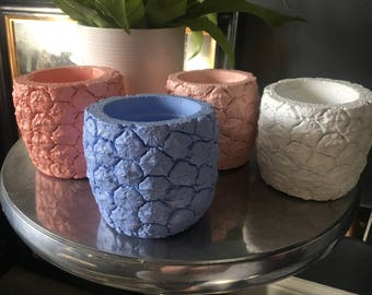 Handmade concrete pineapple planter 10cm cornflower blue