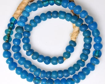 26 Inch Strand of Old Blue German Padre Beads - Vintage African Trade Beads - PA70
