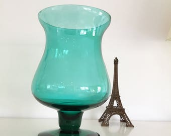 Vintage blown glass in pedestal vase