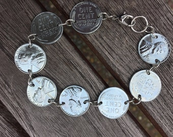 1943 Steel Lincoln Penny Bracelet,Charm Bracelet,Coin Bracelet,Silver Coin Jewelry,Gift for Her,Coin Link Bracelet,Penny Jewelry,